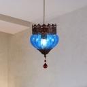 1 Light Blue/Red/Green Glass Hanging Ceiling Light Vintage Urn Shaped Restaurant Suspension Lighting Fixture