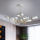 Sputnik Pendant Light Fixture Modern Metal White/Gray Ceiling Light LED Chandelier Lighting in Warm/White Light, 36.5