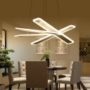 Minimalist Crossed Chandelier Light Acrylic Dining Room LED Ceiling Pendant Light in Warm/White Light