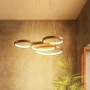 Ring Metal Hanging Chandelier Modern Coffee LED Chandelier Lamp for Bedroom, Warm/White Light