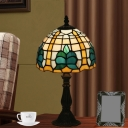 Dome Task Light 1 Head Multicolored Stained Glass Tiffany Standing Lamp in Blue for Bedroom