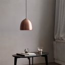 Black/Copper Dome Hanging Pendant Light Contemporary 1 Light Metal Down Lighting Pendant for Dining Room