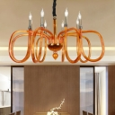 Metal Candle Chandelier Lighting Traditional 6/8 Heads Ceiling Suspension Lamp in Orange