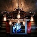 Gear Hanging Pendant Lights Vintage Industrial Metal 6 Heads Hanging Lights for Living Room