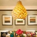 Modern Teardrop Hanging Ceiling Light Bamboo 8.5