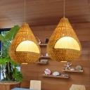 Bamboo Teardrop Shape Hanging Ceiling Light Asia 1 Light Pendant Lamp in Beige for Indoor