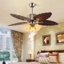Dark Brown 3 Heads Ceiling Fan Lighting Vintage Wooden Leaf Semi Flush Mount for Bedroom