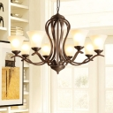 Bell Living Room Ceiling Chandelier Traditional Milk Glass 3/6/8 Heads Black Hanging Light Fixture