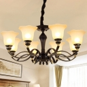 Opal Glass Blossom Chandelier Light Fixture Retro 3/6/8 Lights Living Room Ceiling Pendant in Black