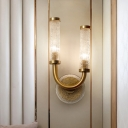 Gold Cylinder Wall Mount Light Fixture Traditional Crackle Glass 2 Heads Living Room Wall Sconce Lighting