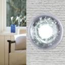 Clear Crystal Hemisphere Wall Lamp Minimalism 1 Head Living Room LED Sconce Light Fixture