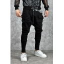 Mens Simple Fashion Plain Black Ribbon Decoration Zip Front Harem Pants with Drawstring