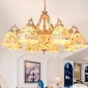 Stained Glass Beige Ceiling Chandelier Dome 9/11 Lights Baroque Hanging Pendant Light for Living Room, Up/Down