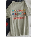 Popular Girls' Short Sleeve Crew Neck I LOVE SHAVE ICE Letter Ice-Cream Print Relaxed Fit Tee