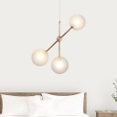 3 Heads Global Chandelier Lighting Modern Frosted White Glass Hanging Light Fixture in Rose Red