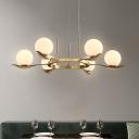 Sphere Chandelier Lighting Modernist Opal Frosted Glass 6 Bulbs Brass Pendant Light Fixture