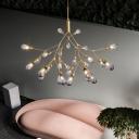 Modernism Teardrop Hanging Chandelier Smoked Glass 27 Bulbs Living Room Ceiling Pendant Light