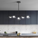 Modernist 5 Bulbs Island Light Black Global Ceiling Pendant Light with Clear Glass Shade
