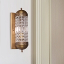 1 Light Bedroom Sconce Light Traditional Brass Wall Mounted Lamp with Cylinder Crystal Shade