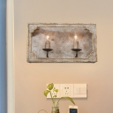 Countryside Candle Wall Lighting Idea 1/2 Lights Wood Sconce in Brown/White/Distressed White for Living Room