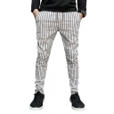 Men's Popular Stripe Printed Drawstring Waist Cotton Trousers Pencil Pants