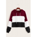 Womens Simple Color Block Splicing Long Sleeve Relaxed Fit Cropped Hoodie