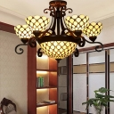 Stained Glass Dome Pendant Chandelier Tiffany-Style 9 Heads White/Red/Beige Down Lighting for Dining Room