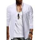 Business Men's Lapel Collar Long Sleeves Button Down Slim Fit Solid Color Casual Shirt