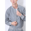 Hip Hop Style Plain Long Sleeve Zip Up Stand Collar Slim Fit Gray Reflective Jacket