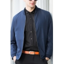 Fashionable Men's Plain Long Sleeve Zipper Placket Slim Fit Baseball Jacket