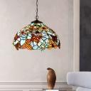 Bronze Flower Chandelier Lighting Mediterranean 2 Lights Red/Blue Cut Glass Suspension Lamp for Kitchen
