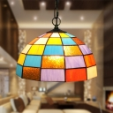 Orange Glass Domed Shaped Hanging Light Kit Baroque 1 Light Bronze Suspension Pendant for Living Room
