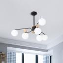 Round Chandelier Lamp Modern Milk Glass 6/8 Heads Black Suspended Lighting Fixture