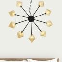 Sputnik Ceiling Chandelier Modernism Metal 9 Bulbs Black Hanging Pendant Light for Bedroom