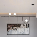 Metal Linear Island Light Minimalism 3 Bulbs Black Pendant Lighting Fixture for Dining Room