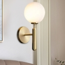 Milky Glass Spherical Sconce Light Contemporary 1 Head Wall Mount Lighting in Brass