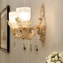 Gold Bowl Wall Mount Light Fixture Traditional Translucent Crystal 1/2 Heads Living Room LED Wall Sconce Lighting