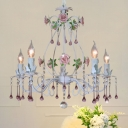 Pink Candle Hanging Chandelier Traditional Clear Crystal Orb 5 Lights Living Room Ceiling Pendant