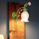 1 Light Opal Glass Wall Sconce Countryside Green Blossom Living Room Wall Mounted Light