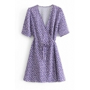Pretty Purple Short Sleeve Surplice Neck Bow Tie Waist All Over Floral Printed Short Wrap A-Line Dress for Ladies