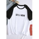 Personality Letter GOD IS A WOMAN Print Raglan Short Sleeve Round Neck Loose T-Shirt