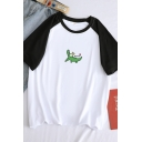 Lovely Crocodile Pattern Short Sleeves Crewneck Relaxed Fit Summer T-Shirt