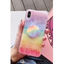 Girls Popular Rainbow Glitter Mobile Phone Case with Pop Socket Stand Holder
