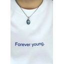 Popular Letter FOREVER YOUNG Print Contrast Trim Short Sleeves Leisure Cotton Tee