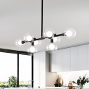 Orb Island Lighting Contemporary Clear Glass 8 Heads Hanging Pendant Light in Black