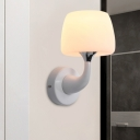 Contemporary 1 Bulb Sconce White Cup Wall Mounted Lighting with Frosted Glass Shade