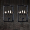 Metal Candle-Like Ceiling Chandelier Farmhouse 5 Lights Restaurant Pendant in Black