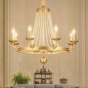 Candelabra Crystal Chandelier Lighting Fixture Countryside 6/8/10 Lights Living Room Drop Pendant in Gold