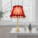Red 1 Bulb Night Light Traditional Prismatic Optical Crystal Flower Table Lamp for Living Room
