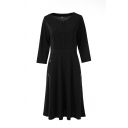 Fashion Plain Long Sleeve Round Neck Button Front Mid Pleated A-Line Dress for Women